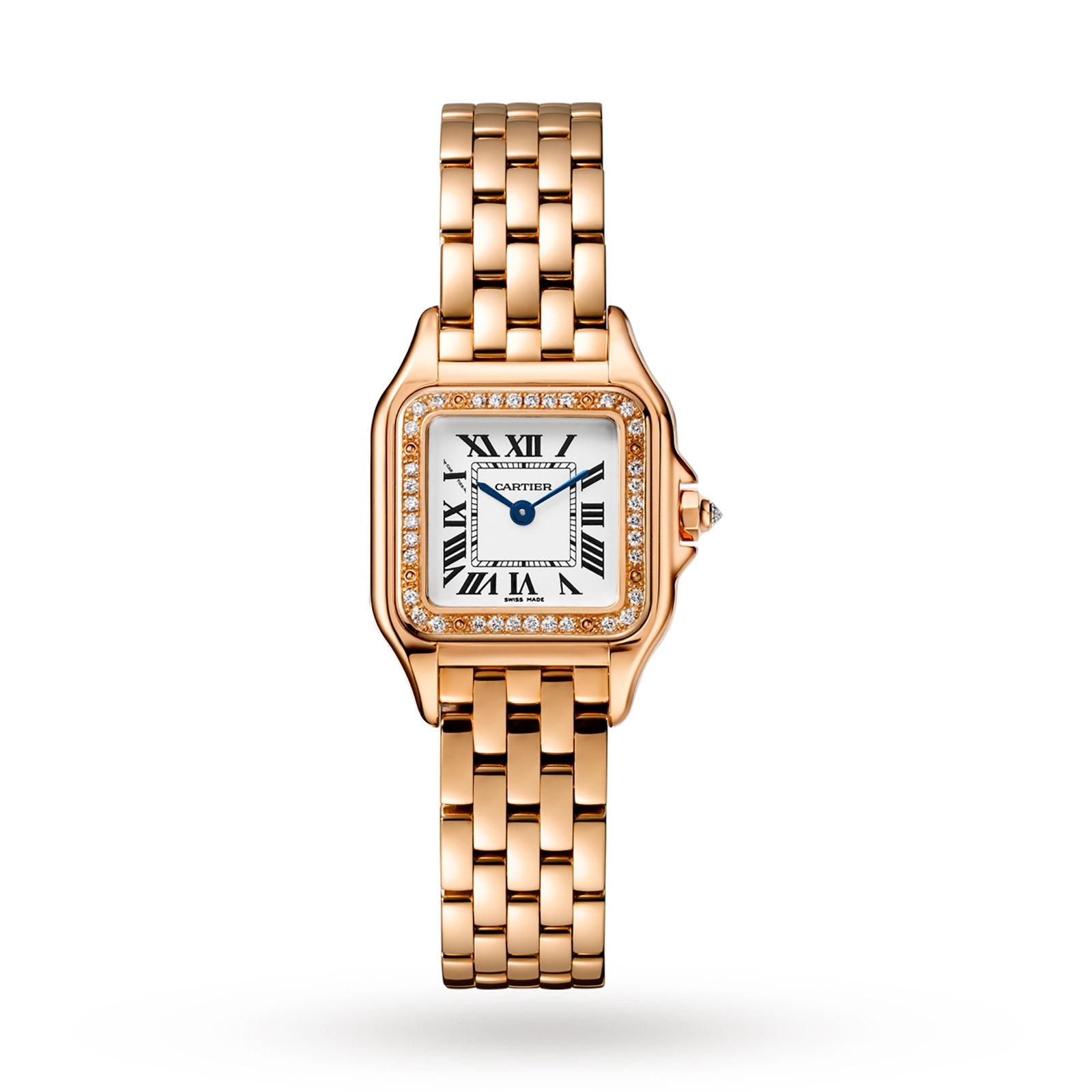 Cartier Panthère de Cartier watch, Small model, rose gold, diamonds
