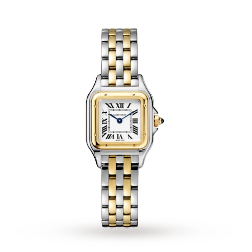 Panthère de Cartier watch, Small model, yellow gold and steel