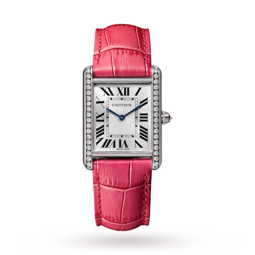 Tank Louis Cartier watch Large model, rhodium-finish 18K white gold, leather, diamonds