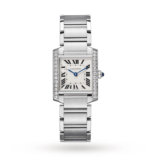 Tank Française watch, Medium model, steel, diamonds.