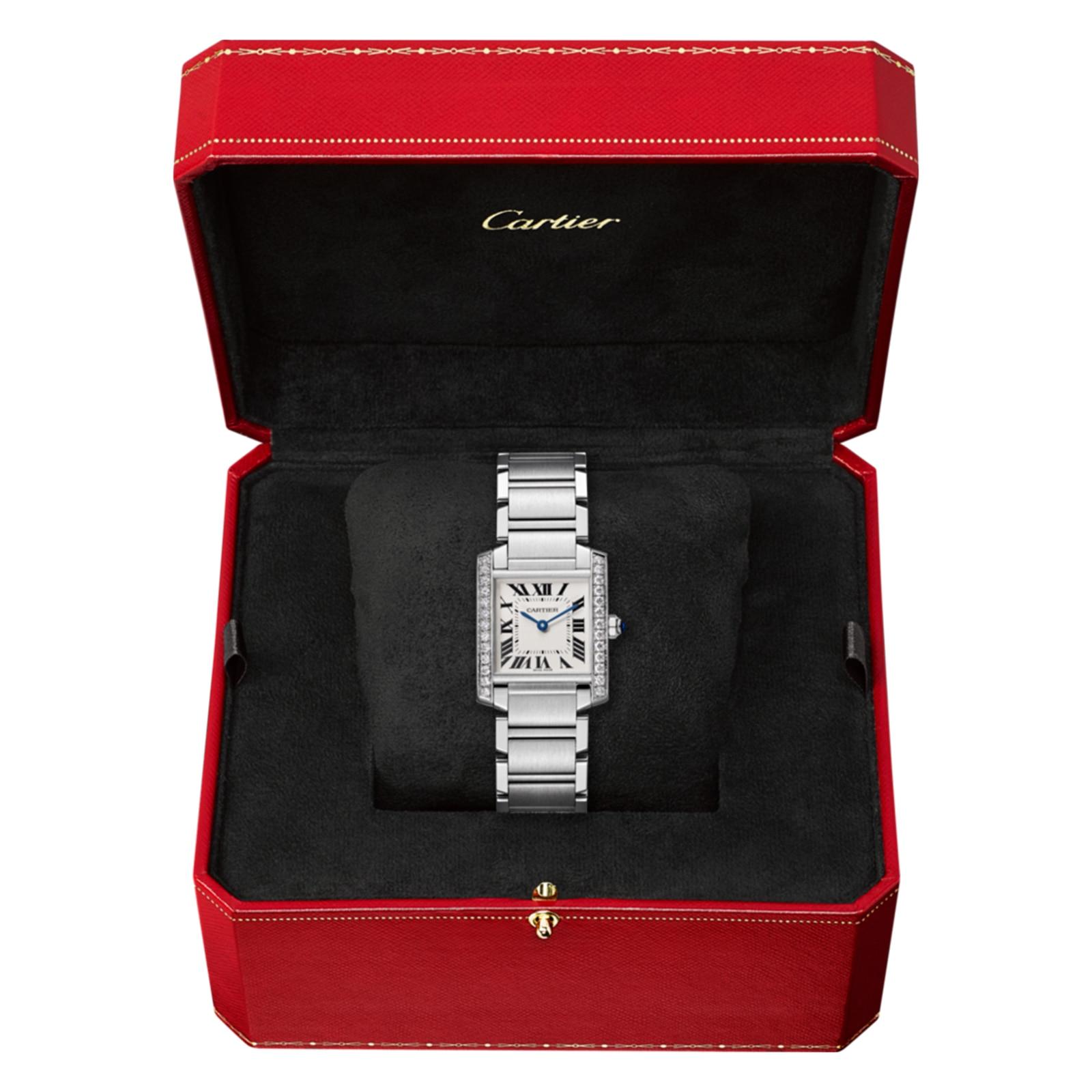 Cartier Tank Française watch, Medium model, steel, diamonds.