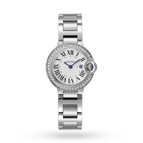 Ballon Bleu de Cartier watch, 28 mm, steel, diamonds