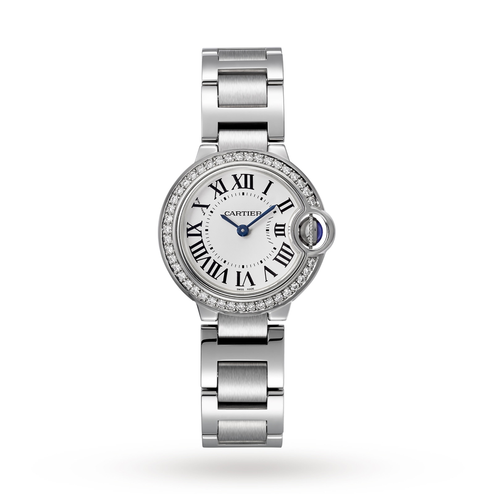 Cartier Ballon Bleu de Cartier watch, 28 mm, steel, diamonds