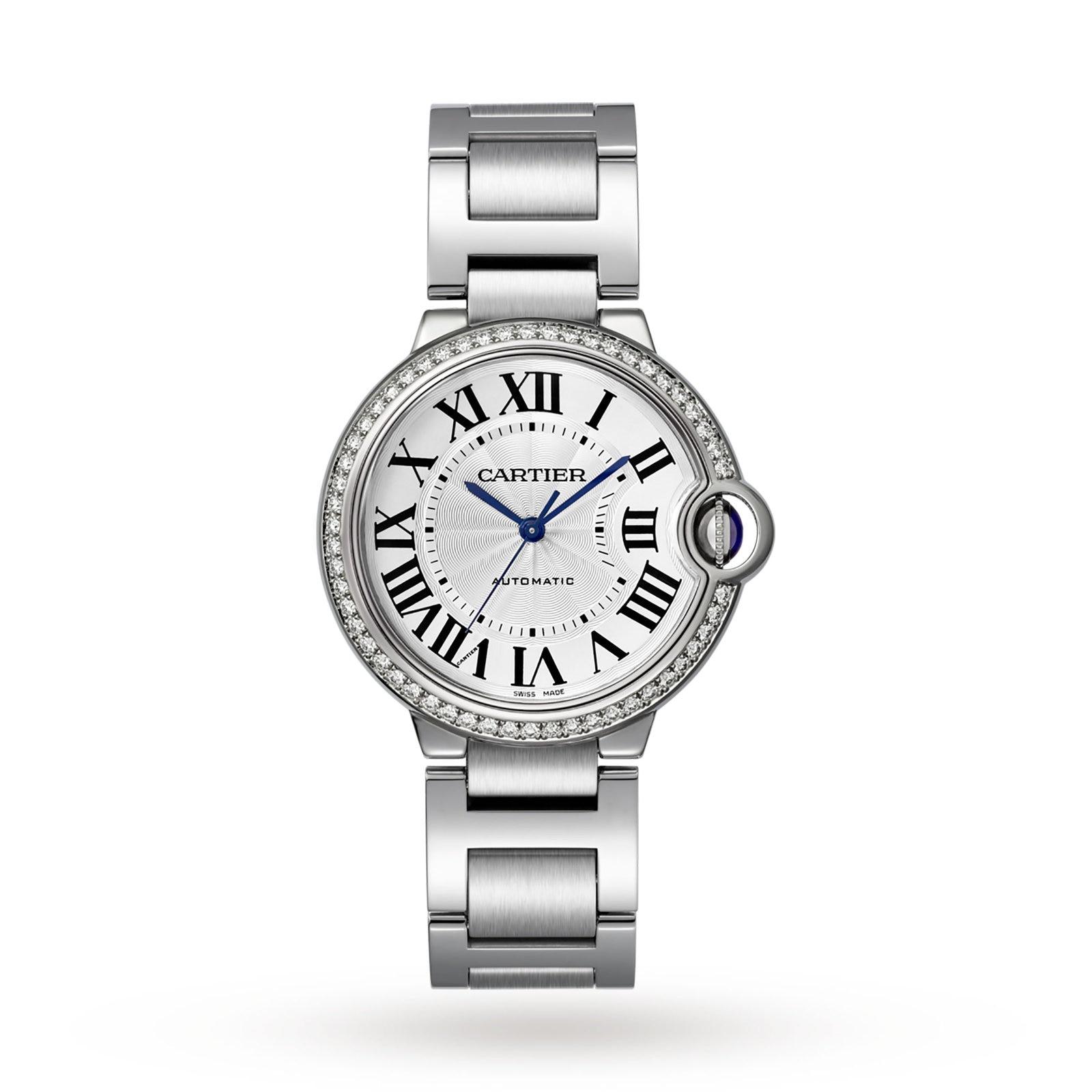 Cartier Ballon Bleu de Cartier watch 36 mm, steel, diamonds