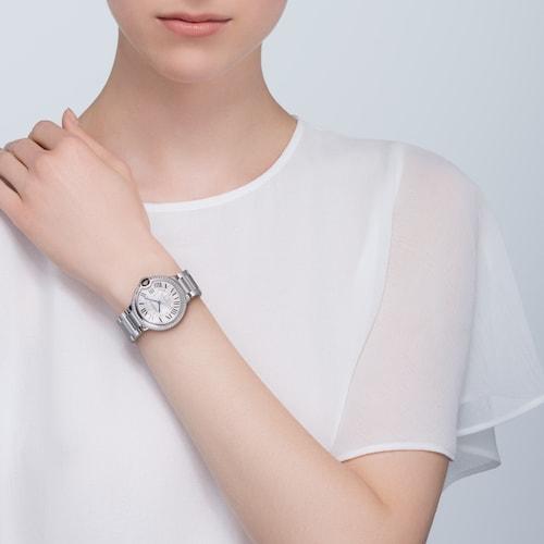 Ballon Bleu de Cartier watch 36 mm, steel, diamonds