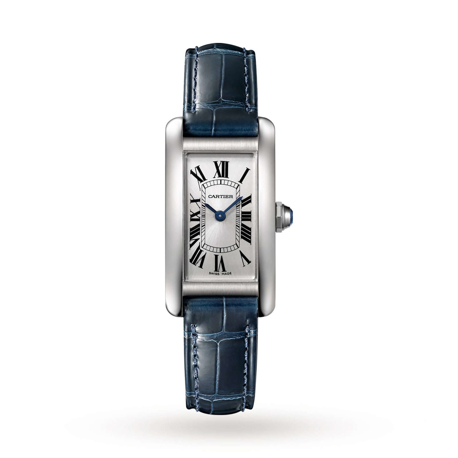 Cartier Tank Américaine watch, Small model, steel, leather
