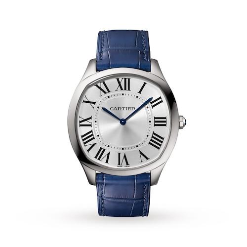 Drive de Cartier Extra-Flat watch, Steel, leather