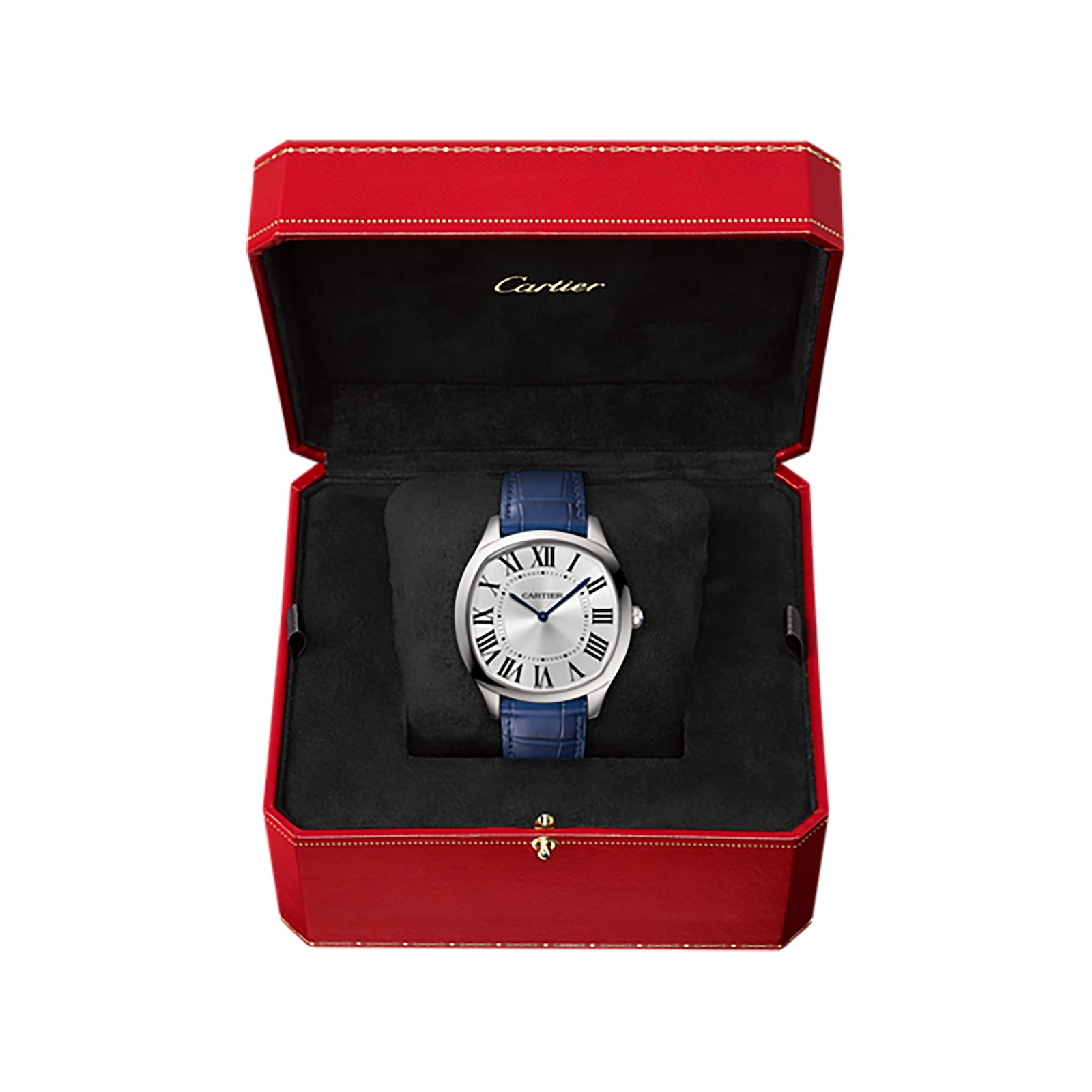 Cartier Drive de Cartier Extra-Flat watch, Steel, leather