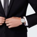 Cartier Drive De Cartier Extra-Flat Watch Large Model, Hand-Wound Mechanical Movement, Steel, Leather