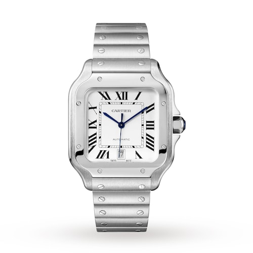 Santos de Cartier watch, Large model, automatic, steel, two interchangeable straps
