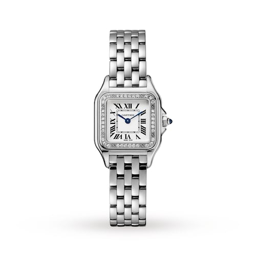 Panthère de Cartier watch, Small model, steel, diamonds