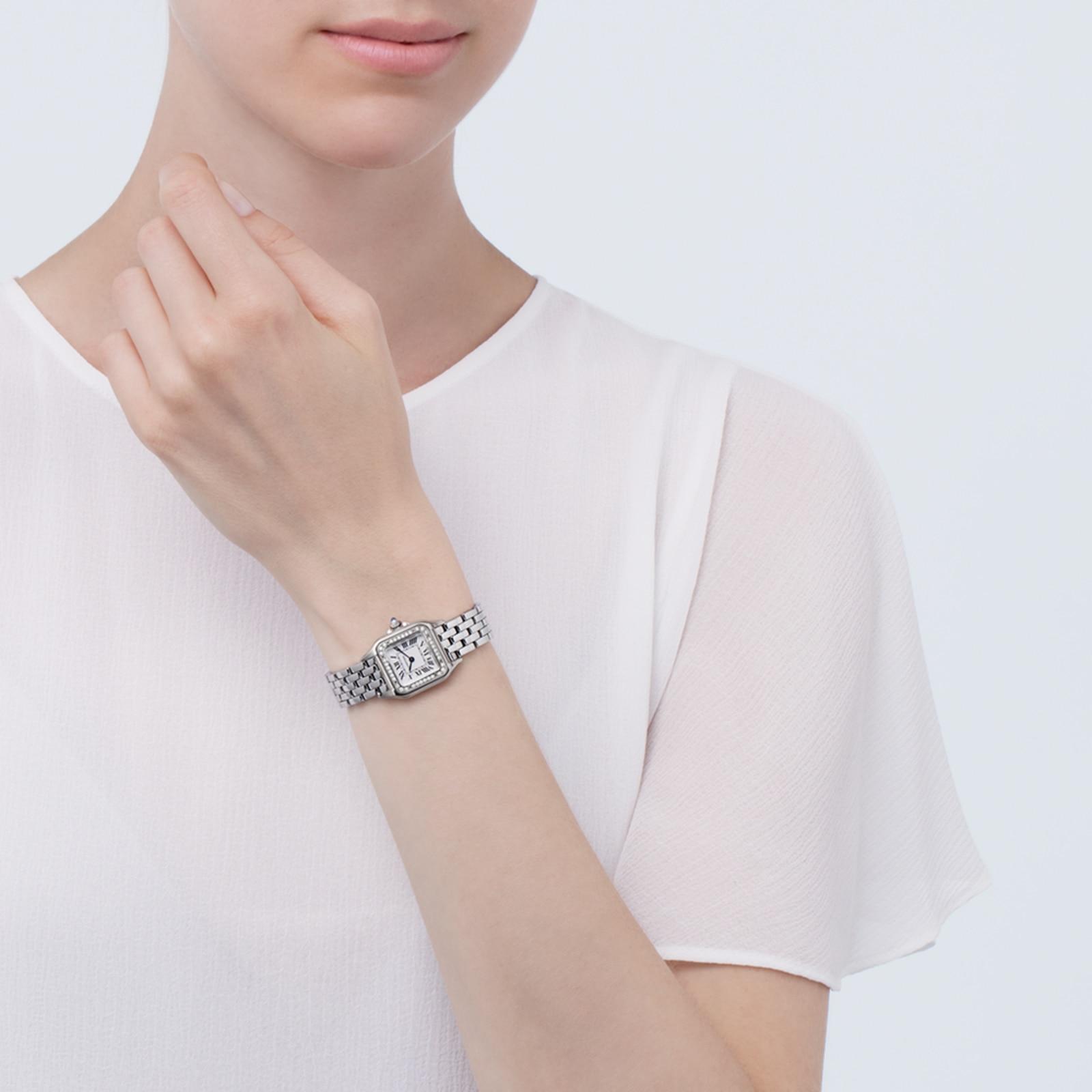 Cartier Panthère de Cartier watch, Small model, steel, diamonds