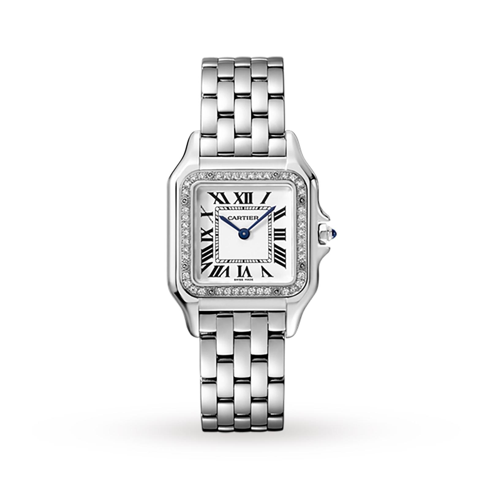 Cartier Panthère de Cartier watch, Medium model, steel, diamonds