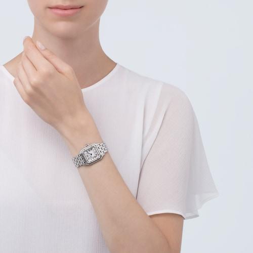 Panthère de Cartier watch, Medium model, steel, diamonds