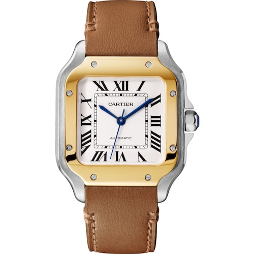 Santos de Cartier watch, Medium model, automatic, yellow gold and steel, two interchangeable straps
