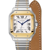 Cartier Santos De Cartier Watch Medium Model, Automatic Movement, Yellow Gold, Steel, Interchangeable Metal And Leather Bracelets