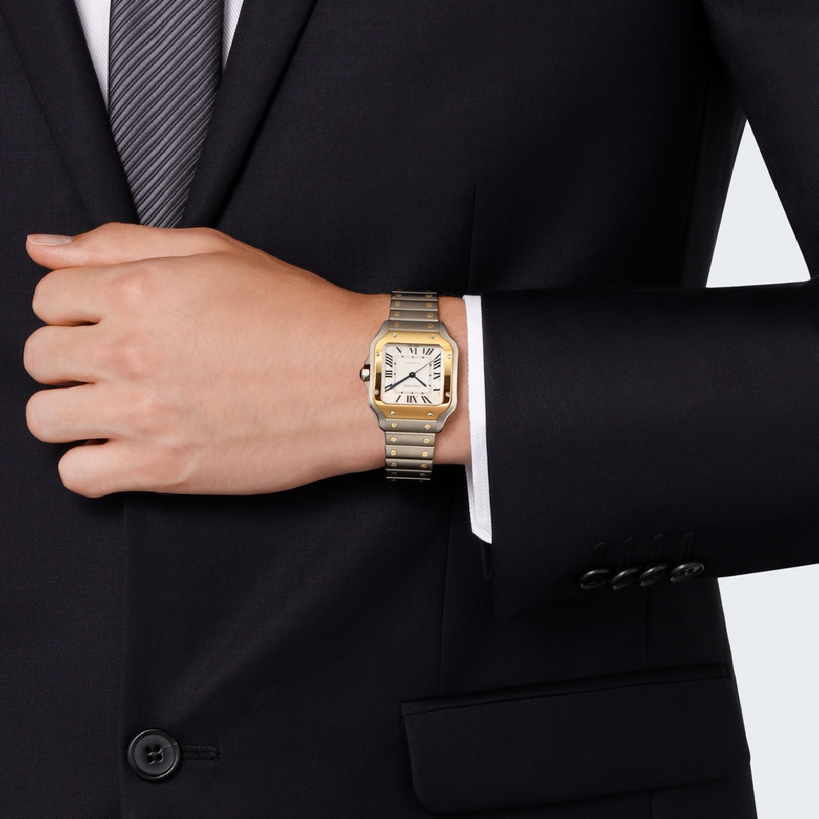 Cartier Santos de Cartier watch, Medium model, automatic, yellow gold and steel, two interchangeable straps