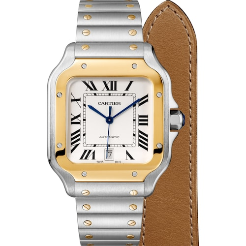 Santos de Cartier watch, Large model, automatic, gold and steel, two interchangeable straps