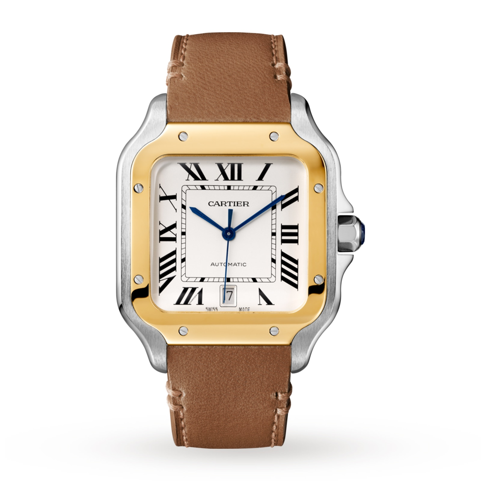 Cartier Santos de Cartier watch, Large model, automatic, gold and steel, two interchangeable straps