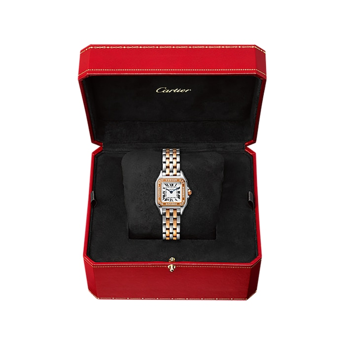 Cartier Panthère De Cartier Watch Small Model, Quartz Movement, Rose Gold, Steel, Diamonds