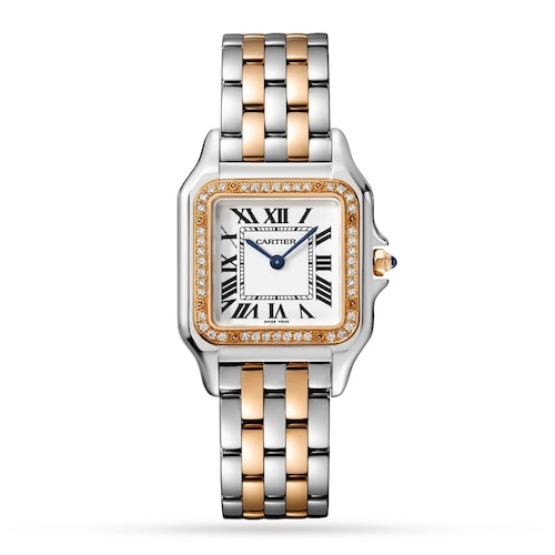 Panthère de Cartier watch, Medium model, rose gold and steel, diamonds