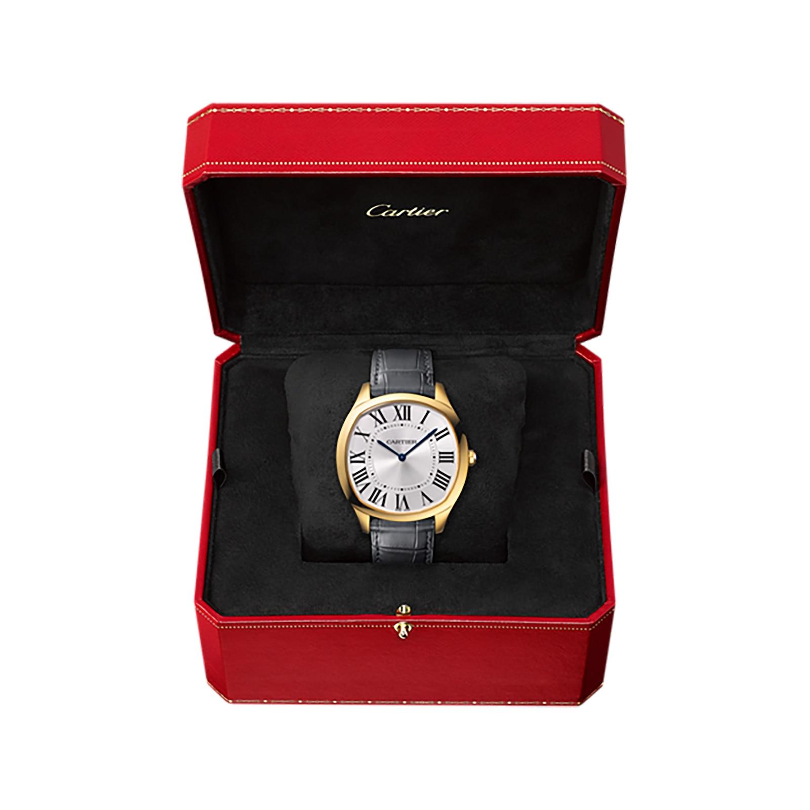 Cartier Drive de Cartier watch, Yellow gold, leather