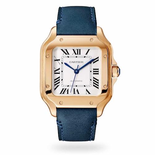 Santos de Cartier watch, Medium model, automatic, rose gold, two interchangeable straps