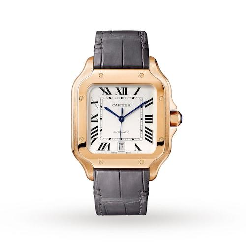 Santos de Cartier watch, Large model, automatic, rose gold, two interchangeable straps
