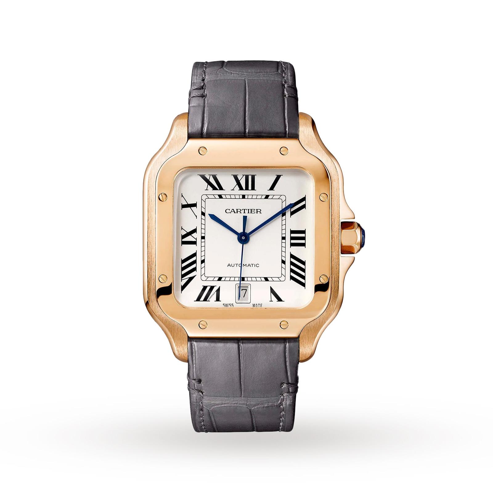 Cartier Santos de Cartier watch, Large model, automatic, rose gold, two interchangeable straps