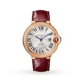 Cartier Ballon Bleu de watch, 36 mm, rose gold, diamonds, leather