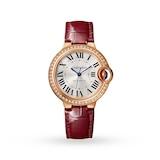 Cartier Ballon Bleu de watch, 33 mm, pink gold, diamonds, leather