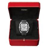 Cartier Santos De Cartier Chronograph Watch Extra-Large Model, Automatic Movement, Steel, ADLC, Interchangeable Rubber And Leather Bracelets