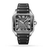 Cartier Santos De Cartier Watch Large Model, Automatic Movement, Steel, ADLC, Interchangeable Metal And Rubber Bracelets