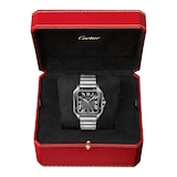 Cartier Santos De Cartier Watch Large Model, Automatic Movement, Steel, ADLC, Interchangeable Metal And Rubber Bracelets