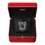 Cartier Santos De Cartier Watch Large Model, Automatic Movement, Steel, Adlc, Interchangeable Rubber And Leather Bracelets