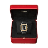 Cartier Santos-Dumont Watch Large Model, Hand-Wound Mechanical Movement, Yellow Gold, Steel, Leather