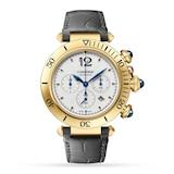 Cartier Pasha de Cartier 41 mm, chronograph, automatic movement, 18K yellow gold, interchangeable leather straps