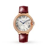 Cartier Ballon Bleu De Cartier Watch, 40mm, Automatic Movement, Rose Gold, Diamonds, Leather