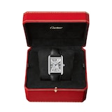 Cartier Tank Must de Cartier, Extra-large model, automatic movement, steel, leather