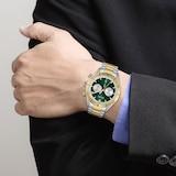 BOSS Santiago Chronograph Date Bracelet Strap Watch, Silver/Gold GQ 44mm
