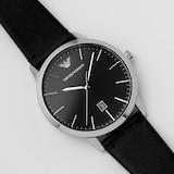 Emporio Armani Black Leather Gents Watch