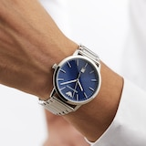 Emporio Armani Men's Date Stainless Steel Bracelet Strap Watch, Silver/Blue