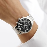 Emporio Armani Stainless Steel and Black Dial Gents Watch