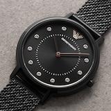 Emporio Armani 32mm Ladies Black Mesh Watch
