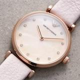 Emporio Armani T-Bar Ladies Pink Leather Strap Watch
