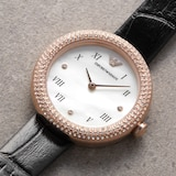 Emporio Armani Ladies Black Leather Watch