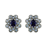 Damiani 18ct White Gold Diamond Sapphire and Iolite Stud Earrings