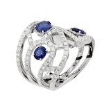 Damiani Battito 18ct White Gold 1.51cttw Diamond and Sapphire Ring - Ring Size M