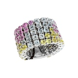 Damiani 18ct White Gold 5.64cttw Sapphire and Aquamarine Ring - Ring Size O