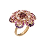 Damiani Ibisco 18ct Yellow Gold Pink Sapphire and 0.24cttw Diamond Ring - Ring Size N